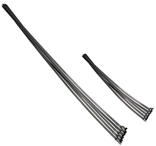Universeel geprefabriceerde AISI 304 SS roestvrij staal slangklemmen / klemklemmen set 360 + 740 mm bandklemmen / slangklemmen tape geschikt voor slangbandtangen roestvrijstalen band kabelbinders, 10-delig