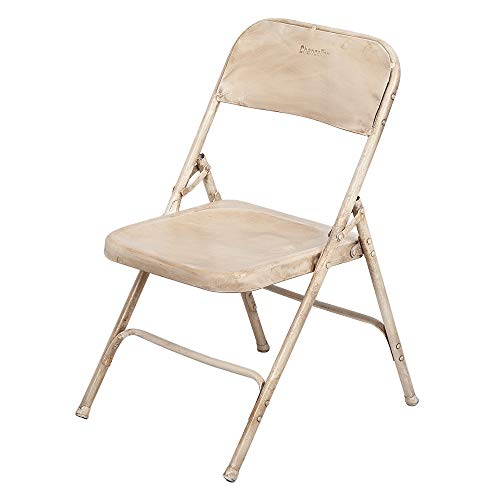 LEBENSwohnART Metall Klappstuhl BARO Antik-Weiß Vintage Used Look Stuhl Metallstuhl