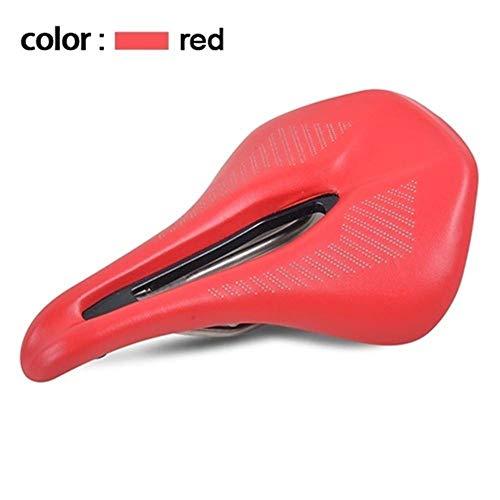 Fietszadel Fietszadel fietszadel Comfortabele Berg/MTB Road Bike Seat PU leren oppervlak Cushion Soft Shockproof fietszadel fietsonderdelen (Color : Red)