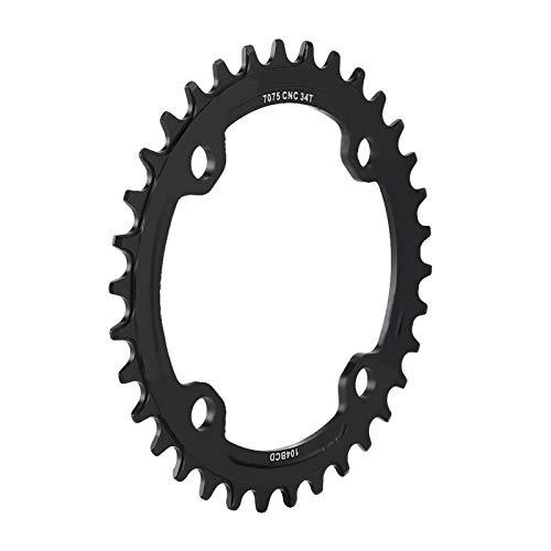 DAUERHAFT Anillo de Cadena Simple para Bicicleta de montaña Duradero, para Bicicleta de montaña, para patrón de Perno de 104 mm(Black, 34T)