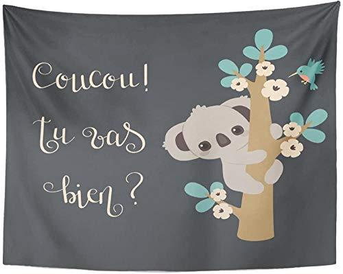 Tapiz lindo Koala trepando a un árbol y letras escritas a mano en francés Coucou Tu Vas Bien significa Hola, eres tú Tapiz para colgar en la pared 150x100cm