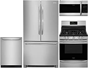 Frigidaire 4-Piece Stainless Steel Kitchen Package with FGHG2368TF 36 French Door Refrigerator, FGGF3059TF 30 Freestanding...