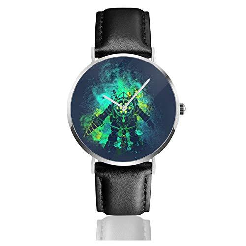 Unisex Business Casual Rapture Art Big Daddy Little Sister Bio Shock Uhren Quarz Leder Armbanduhr mit schwarzem Lederband für Männer Frauen Junge Kollektion Geschenk