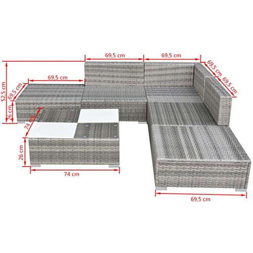 vidaXL Gartensofa 15-TLG. Poly Rattan Grau Sitzgruppe Lounge Gartenmöbel Set - 5
