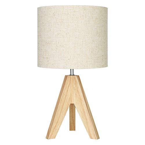 EDISHINE Lámpara de mesita de noche de madera, trípode lámpara de mesa E27, pantalla vintage beige de lino para oficina, salón, dormitorio, certificado CE