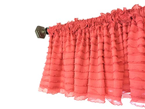 A Vision to Remember Coral Ruffled Valance Modern Farmhouse Window Treatment Curtain, for Kitchen, Living Room, Bedroom, Nursery, Bathroom