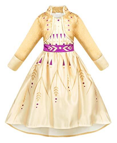 AmzBarley Eiskönigin 2 Kostüm Mädchen Kleid Kinder Prinzessin Kleider Party Karneval Kleidung, Beige, 5-6 Jahre, 130