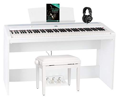 Steinmayer P-60 WM Stagepiano Home Set (88 Tasten und passendem Unterbau, Hammermechanik, Anschlagdynamik, 128-fach polyphon, 14 Sounds, inkl. Pianobank, Kopfhörer, Notenhalter, Noten) Weiß