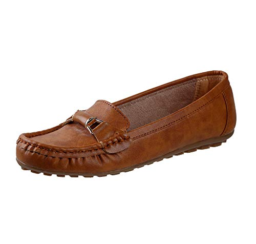 CatBird Womens and Girls Faux Leather Beige Loafers,Casual Loafers,Casual Shoes,Walking Loafers,Lightweight Loafers and Dailywear Loafers