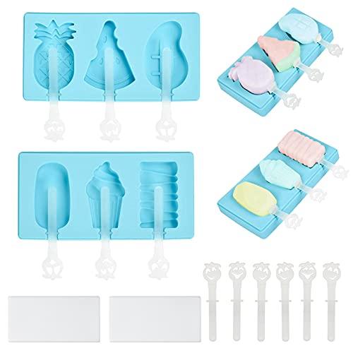Silikon Eiscreme Eisformen,2 Set eis am Stiel formen mit 6 Kunststoffstab,Popsicle Formen Set,für Kinder, Baby,Erwachsene/Familie Partys DIY (Blau)