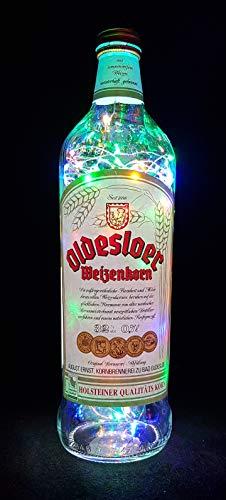Oldesloer Korn - Flaschenlampe Lampe mit 80 LEDs Bunt Upcycling Geschenk Idee