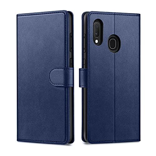 Focusor kompatibel mit Samsung Galaxy A20E Hülle, Samsung A20E Hülle, Handyhülle Samsung A20E Leder Flip Case Ständer PU Brieftasche Schutzhülle für Samsung A20E Cover, Blau