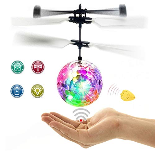 EMOCCI Flying Ball Toys, RC Toy Flying Ball for Kids Boys Girls Gifts Rechargeable Light Up Ball Drone Infrared Induction Helicopter with Remote Controller for Indoor and Outdoor Games