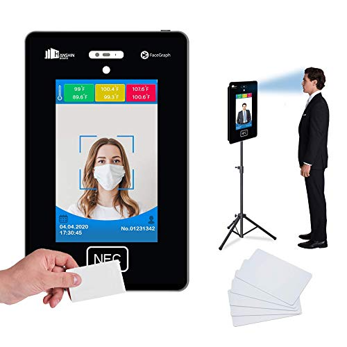 No Contact Temperature Scanner Kiosk Device + Attendance Bundle with Adjustable Stand & RFID Cards - Facial Recognition Enabled with Phone app (Light Tripod Floor Stand + 100 RFID Cards)