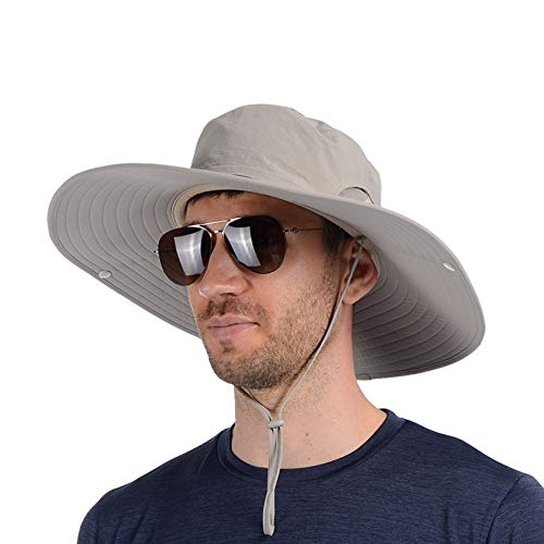 USHAKE Super Wide Brim Fishing Sun Hat Water Resistant Bucket Hat for Men or Women Khaki