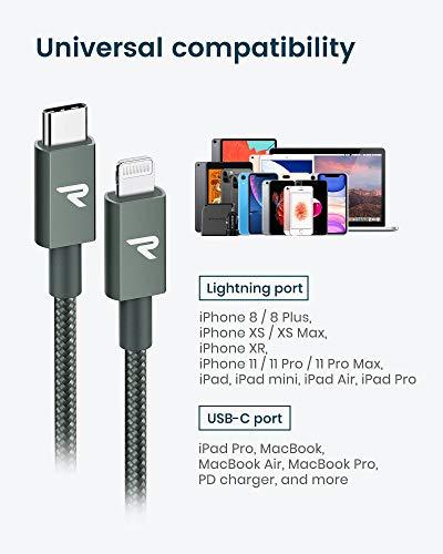 RAMPOW Kabel USB C auf Lightning MFi zertifiziert, Lightning USB C Power Delivery Nylon geflochten für iPhone 11/11 Pro/XS/XR/X/8, iPad Mini 5, iPad Air 2019-1 m/Nachtgrün