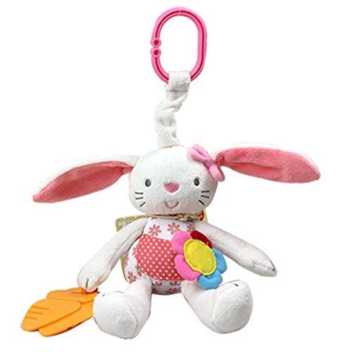ARMAC Colgante de conejito con colgante de carro de bebé, bolsa de juguete, juguete de bebé, campana de mano