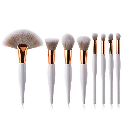 Sgn 8pcs/Set Makeup Brushes Soft Powder Foundation Eyeshadow Blush Brushes Wood Handle Black White Cosmetic Brush Set Kit,White-8pcs