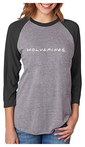 University of Michigan Wolverines Friends 3/4 Women Sleeve Baseball Jersey Shirt Medium Black/Gray