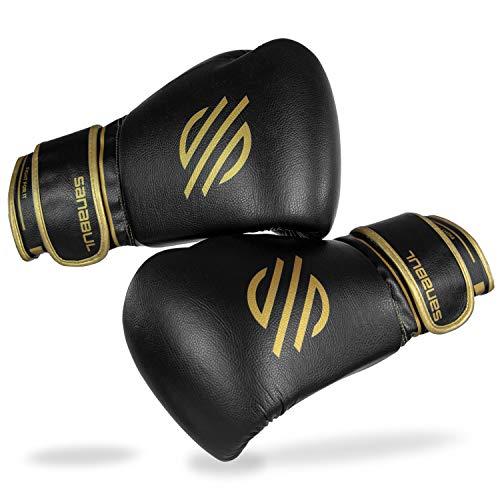 Sanabul Gold Strike Professional Boxhandschuhe, Schwarzer Klettverschluss, 430 g