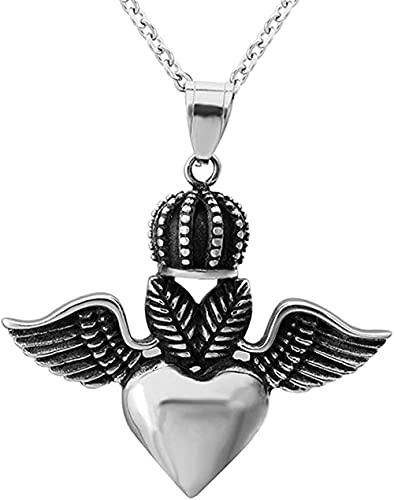 NC198 Collares con Colgante de Corona de alas de corazón de Amor de Acero Inoxidable gótico Vintage para Hombre con Collar de Caja Redonda 3MM-27 5 in