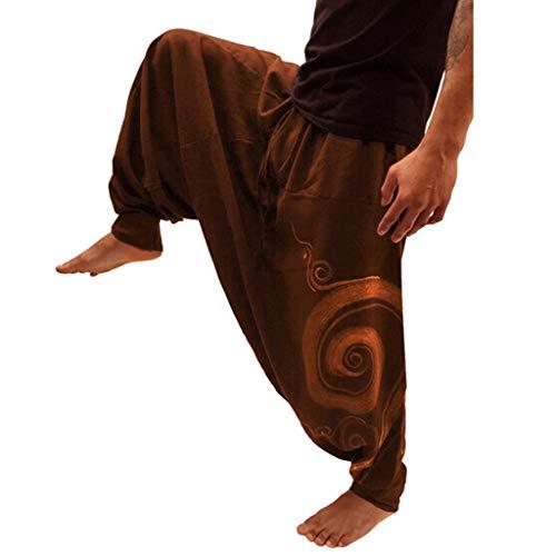 FELZ Pantalones Yoga Hombre Anchos Pantalones Deportivos Hombres Pantalones de Trabajo de Yoga de Bolsillo con Estampado étnico para Hombre Pantalones Holgados del Harem del Estilo Nacional Ocasional