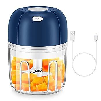 Electric Garlic Chopper,250 ML Mini Food Processor,Mini Food Chopper with USB Charging for Slap Chop Onion Ginger Vegetable Pepper Spice Meat Baby Food Seasoning,BPA Free