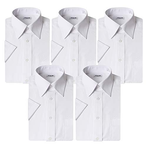 (アトリエ 365) 半袖 ワイシャツ 白 5枚セット クールビズ ビジネス ホワイト イージーケア 形態安定 Yシャツ/at-ms-set-1060-ats-zaiko-LL-43-sm-18SS
