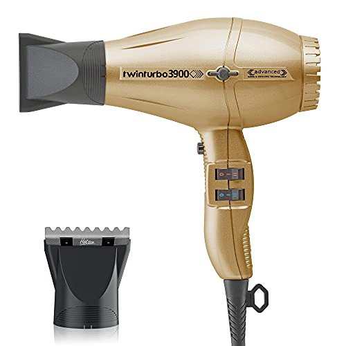 Turbo Power TwinTurbo 3900 Advanced Gold Ionic & Ceramic Technology Eco Friendly and M Hair Designs Hot Blow Attachment Silver (Bundle - 2 Items)