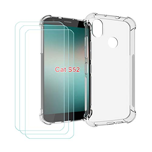 DQG Panzerglas + Hülle für Cat S52,Transparent Cover TPU Handyhülle Silikon Tasche Hülle Schutzhülle - 3 Stück Gehärtetes Glas Schutzfolie für Cat S52 (5.65