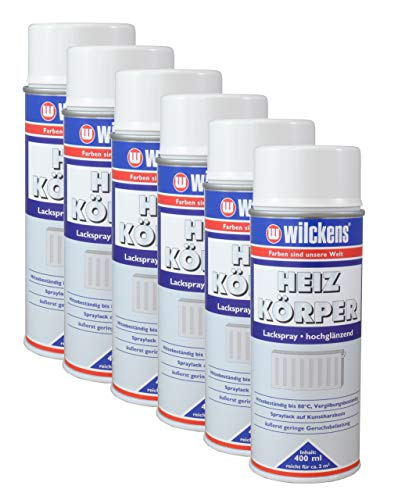 6x Heizkörperlackspray weiß hochglänzend 400ml Heizung Lackspray Spraydose