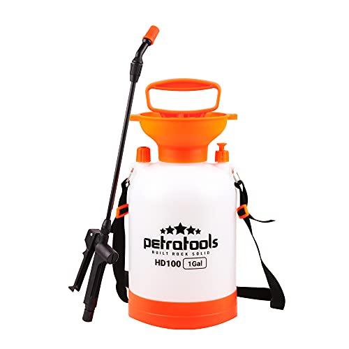 PetraTools 1 Gallon Garden Sprayer, Hand Pump Sprayer, Plant Sprayer & Weed Sprayer, Chemical Lawn Sprayer, Water Sprayer for Plants, 1 Gallon Sprayer with Pump, Sprayers in Lawn and Garden - HD100