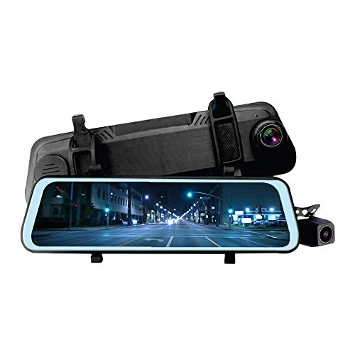 "Suzec Moco M08 Rearview Dash Cam Wide with HD Rear Camera, Dual Channel Recording with 9.88"" IPS Screen, 1080P Front & Rear, G-Sensor, WDR, Loop Recording"