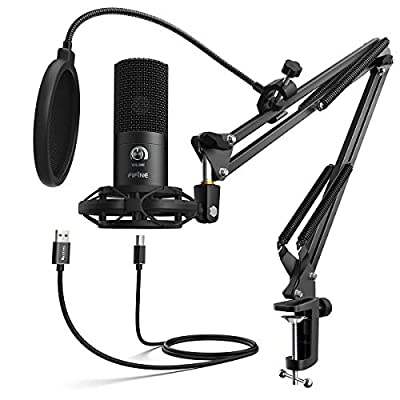 FIFINE USB Microphone Kit Condenser Studio Microphone for Computer, PC Mic with Adjustable Scissor Boom Arm Stand Shock Mount Volume Control for Gaming,Streaming,Podcast,Recording Vocal,YouTube-T669