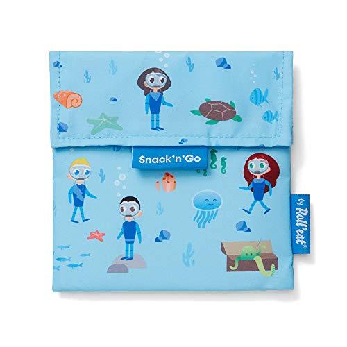 Roll'Eat – Snack'n'Go – Porta Snack Ecologico, Riutilizzabile e Impermeabile   Sacchetto Porta Panino e Merenda Morbido, Antimacchia, Lavabile. Colore Azzurro. Senza BPA