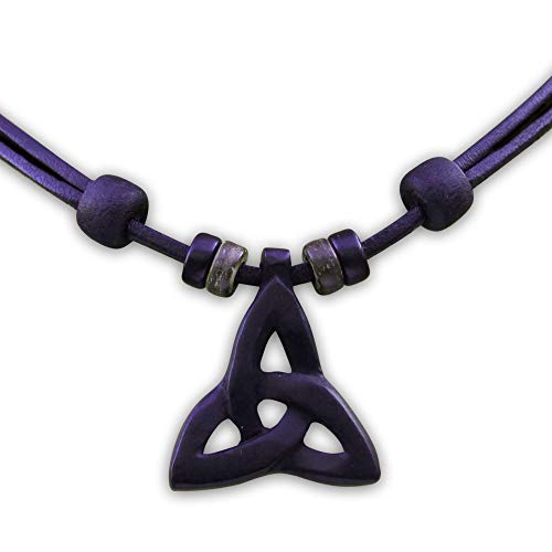 HANA LIMA ® Lederkette Keltischer Knoten Holzschnitzerei Halskette Herren Damen Surferkette