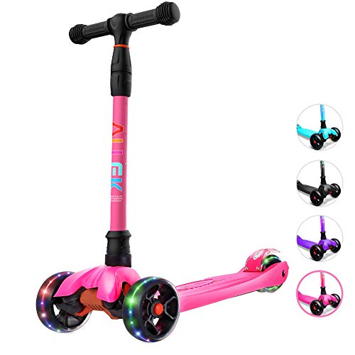 Allek Kick Scooter B02 Lean #039N Glide Scooter with Extra Wide PU LightUp Wheels and 4 Adjustable Heights for Children from 314yrs Rose Pink