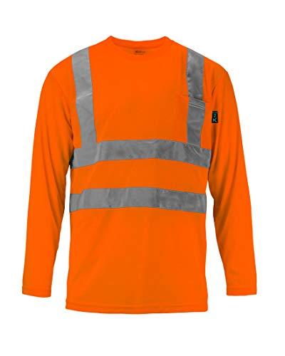 Kolossus 100% Polyester ANSI Class 2 Compliant High Visibility Long Sleeve Safety Shirt (Orange, Medium)