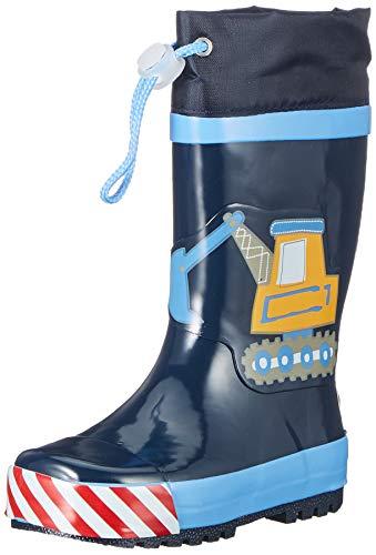 Playshoes Kinder Gummistiefel aus Naturkautschuk, trendige Unisex Regenstiefel mit Reflektoren, mit Bagger-Motiv, Blau (Bleu 17), 26/27 EU