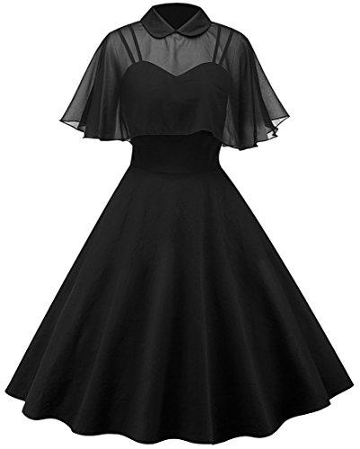 EUDOLAH Robe de Soirée Femme Deux Pièces Année 50 Vintage Col Claudine avec Une Cape Robes Longues Chic sans Manches pour Mariage Soirée,Noir,XXL