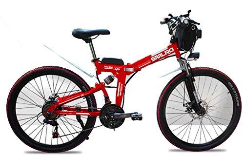 """Bicicletas Eléctricas, Bicicleta de montaña, bicicleta de montaña eléctrica de 48 V, 26 pulgadas plegable E-bici con 4,0"""" anchos neumáticos ruedas de radios, la suspensión total de la prima, Rojo ,Bic"""