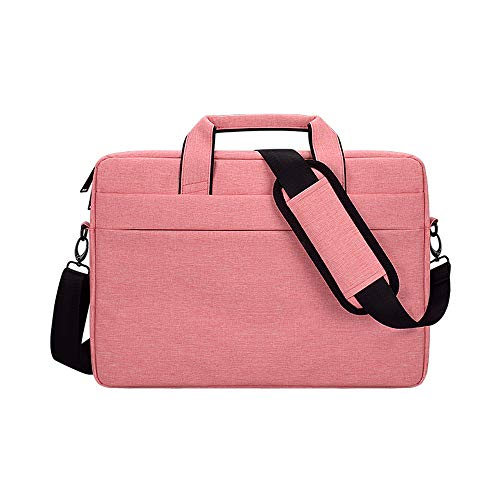 PINHEN 13.3 Inch Laptop Shoulder Bag Compatible with 13-13.3 Inch Laptops/MacBook Pro Retina/Dell Inspiron 13 XPS 13 / Asus/Acer/Lenovo/HP, Polyester Sleeve Case with Back Trolley Belt,Pink