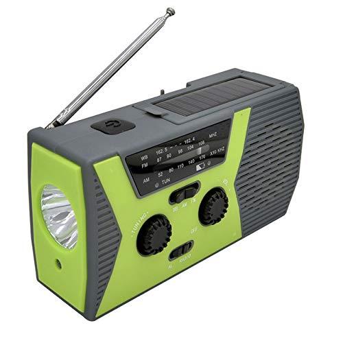 ZZJ Randonnée Solaire Radio, ABS Météo Camping SOS Multi-Fonction sirène LED Gyrophare avec Lampe de Poche AM FM USB Rechargeable à manivelle,B