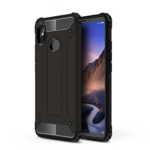 TANYO Xiaomi Mi Max 3 Heavy-Duty Hybrid Double Armor, Removable 2-in-1 Shock Resistant, Rugged and Durable Ultra-Thin Protective Case Black