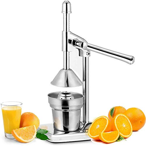 Manual Orange Juicer Stainless Steel Chrome Citrus Hand Press Fresh Fruit Squeezer Pro Extractor