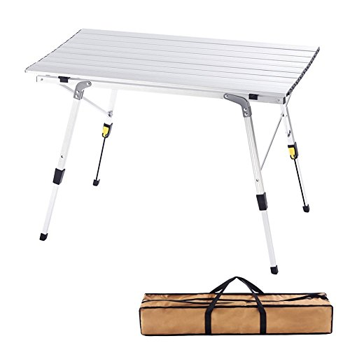 CampLand Aluminum Height Adjustable Folding Table Camping Outdoor Lightweight for Camping, Beach, Backyards, BBQ, Party and Picnic (A)