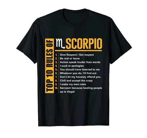 Top 10 Rules of Scorpio Birthday Gifts T-Shirt