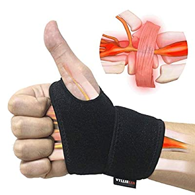 Wrist Brace for Carpal Tunnel, Comfortable and Adjustable Wrist Support Brace for Arthritis and Tendinitis, Wrist Compression Wrap for Pain Relief, Fit for Both Left Hand and Right Hand – Single by WYLLIELAB