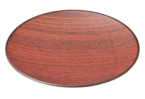 柿赤 27.5cm丸皿(縞紋) [ 27.7 x 2.7cm ] [ 大皿 ] | 飲食店 和食 旅館 料亭 ホテル 業務用