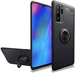 Huawei P30 Pro Case, Shock-absorption anti-Scratch Soft with Finger Ring Grip Holder Stand - Black